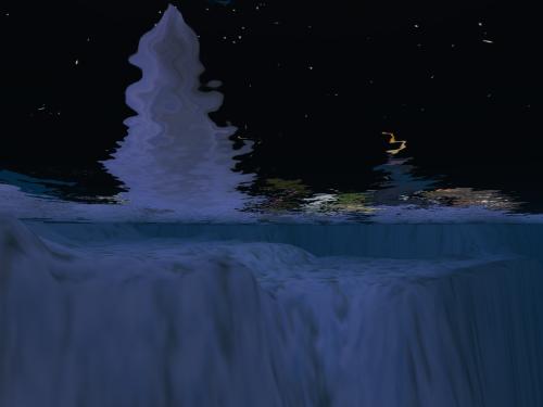 nevicata del 6 gennaio 2011, vista da sott'acqua, in Second Life